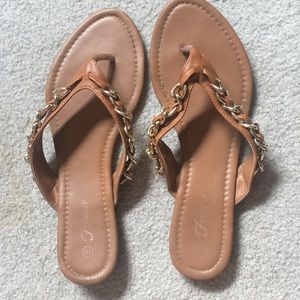 Tan and gold chain sandals